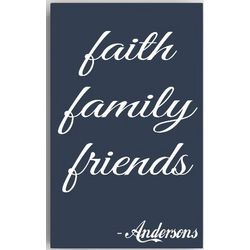 Family, Faith, Friends Personalized Canvas Sign