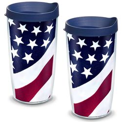 American Flag 16 Oz. Tervis Tumblers with Lids