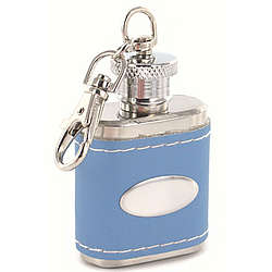 Personalized Blue Leather Key Chain Flask