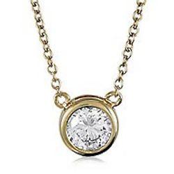 14K Gold Vermeil Round CZ Solitaire Pendant Necklace