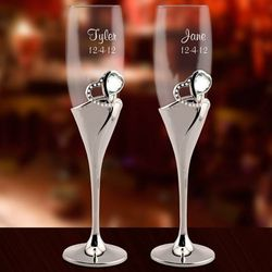 Personalized Crystal Heart Toasting Flutes
