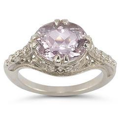 Vintage Sterling Silver Rose Kunzite Ring