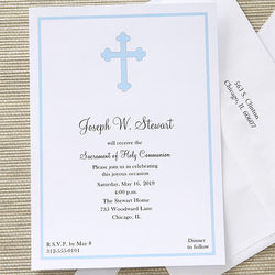 Boy's Holy Cross Custom Printed First Communion Invitations