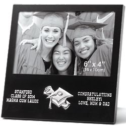 Personalized Black Matte 4x6 Engraved Graduation Picture Frame