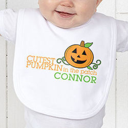 Personalized Cutest Pumpkin Halloween Baby Bib