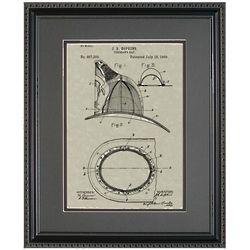 Fireman Helmet 11x14 Patent Framed Art