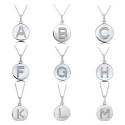 Cubic Zirconia Sterling Silver Initial Letter Necklace