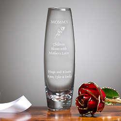Engraved Glass Bud Vase with 24K Gold Rose