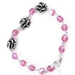 Pink Swarovski Rosary Bracelet with Sterling Silver Roses