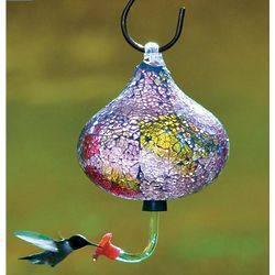 Iridescent Recycled Glass Mosaic Hummingbird Feeder