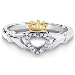 Claddagh Ring in 14 Karat Gold and Sterling Silver