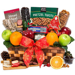 Christmas Fruit and Snacks Gift Basket