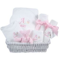 Personalized Butterfly Design Luxury Baby Layette Gift Basket