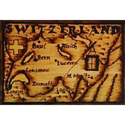 Switzerland Map Leather Photo Album in Natural