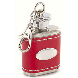 Personalized Red Leather Key Chain Flask