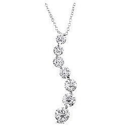 Sterling Silver CZ Curved Journey Pendant Necklace