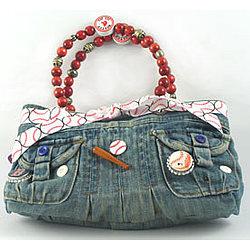 Blue Jean Denim Red Sox Handbag
