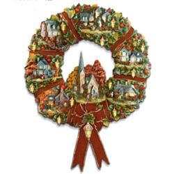 Thomas Kinkade Autumn Village Decorative Wreath