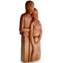 Happy Family Wood Statuette