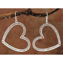 'Love Inspired' Sterling Silver Heart Earrings