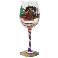 Philadelphia Hand-Painted Wine Glass