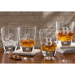 Personalized Initial Monogram Rocks Glasses