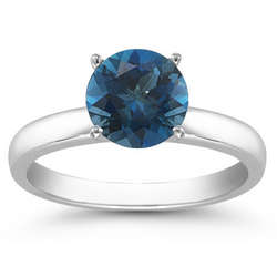 14K White Gold London Blue Topaz Gemstone Solitaire Ring