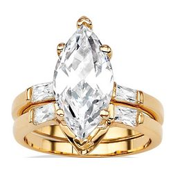 Marquise-Cut and Baguette Cubic Zirconia Wedding Ring Set