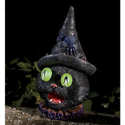 Solar Powered Witch Cat Decor