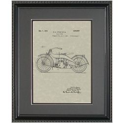 Harley Motorcycle 11x14 Patent Framed Art