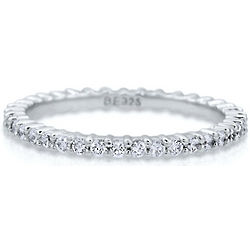 Clear Cubic Zirconia Sterling Silver Eternity Ring