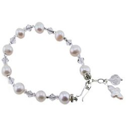 White Freshwater Pearls and Crystal Rosary Bracelet