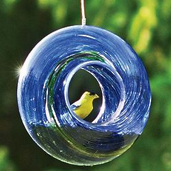 Glass Circle Bird Feeder with Hanging Wire