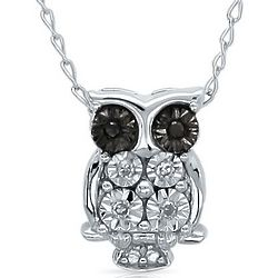Mini Black and White Diamond Owl Pendant in Sterling Silver