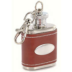 Personalized Brown Leather Key Chain Flask