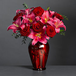 Classical Duet Lilies & Roses with Vase