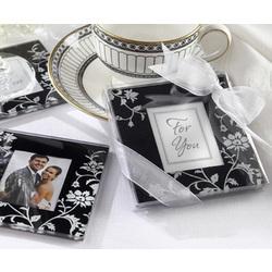 Elegant Black & White Glass Photo Coaster Set