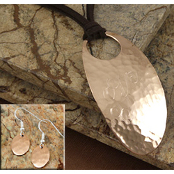 Personalized Oval Copper Necklace with Matching Earrings