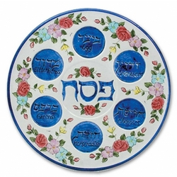 Pink and Blue Floral Seder Plate