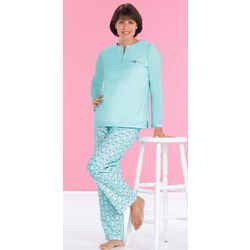 Henley Top with Flannel Pants Pajama Set