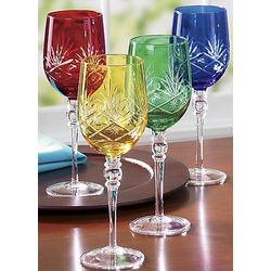 Colorful Etched Goblet Set