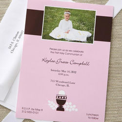 Bless This Child Girl's Personalized Communion Invitations