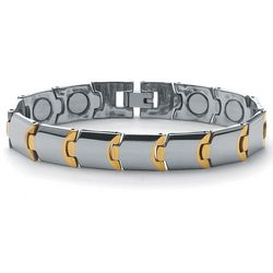 Men's Tutone Stainless Steel Puzzle-Link Magnetic Bracelet
