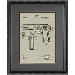 Colt 45 Handgun 11x14 Patent Framed Art