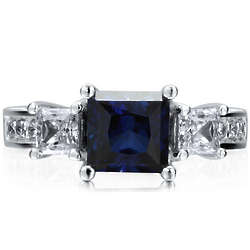 Sterling Silver Princess Sapphire CZ Ring
