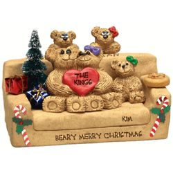 Personalized Bear Grandparents with Family Christmas Figurine