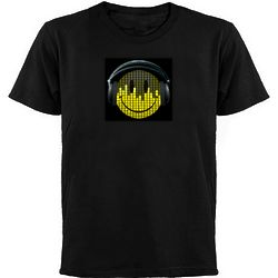 Smiley Face Headphones Interactive T-Shirt