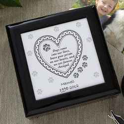 Dog or Cat Paw Prints Personalized Keepsake Memory Box