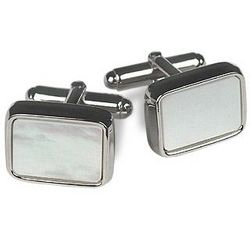 Italian Mother of Pearl Silver Plated Cuff Links