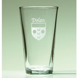 Personalized Irish Coat of Arms Pint Glasses